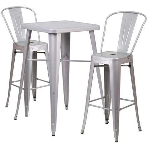 Indoor Bar Table 23 75 Square Silver Metal Indoor Outdoor Bar Table Set With 2 Stools With Backs Ch 31330b 2