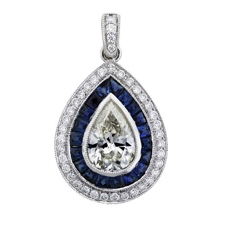 jewelry 1 carat pear shape and sapphire pendant