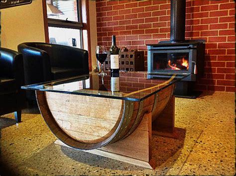 oak wine barrel wood coffee table with tempered glass top made