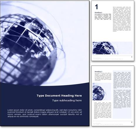 Royalty Free World Globe Microsoft Word Template In Blue Microsoft Word Doc Templates