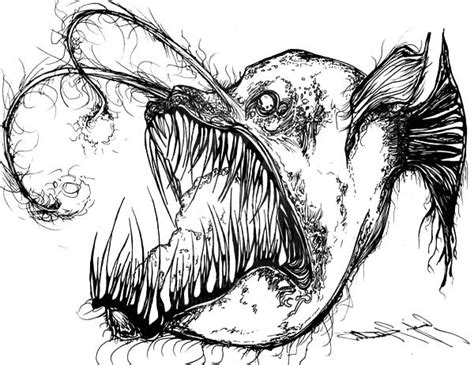 creepy angler fish coloring pages best place to color angler fish is fish from hell coloring pages best place