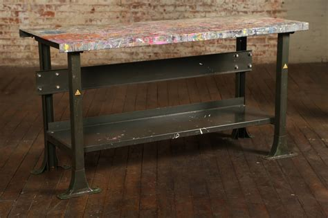 work bench desk rustic artist s table or desk vintage industrial metal