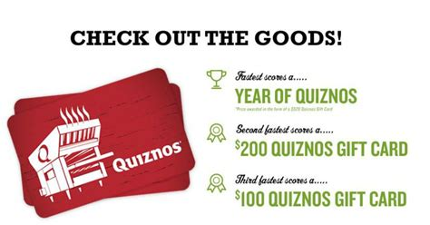 Quiznos Gift Cards - quiznos gift cards are up for grabs mwfreebies