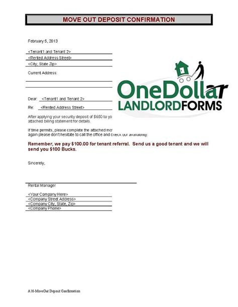 Lease Confirmation Letter A16 Move Out Deposit Confirmation Onedollarlandlordforms Rental Lease Agreement Month To