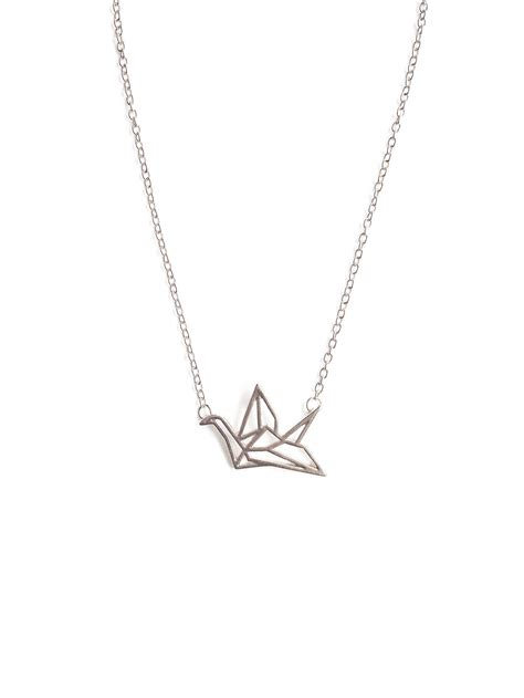 Origami Crane Necklace - back in stock origami crane necklace in silver arva co