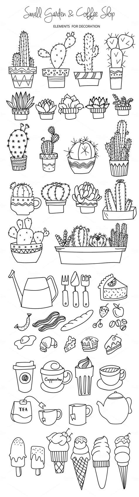 Stiker Pengiriman Shop Black Doodle small garden coffee shop illustrations cactus clip cacti and doodles