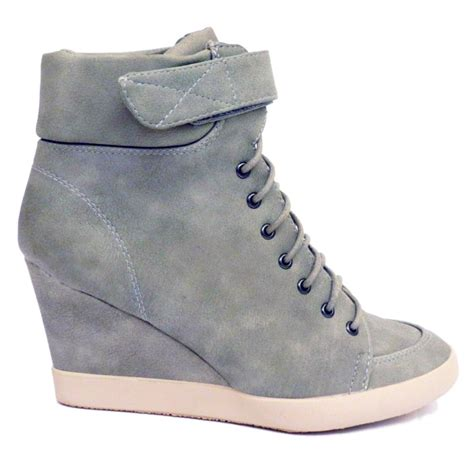 new womens pebble grey lace up ankle wedge trainer