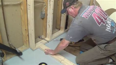 DIY Basement Bathroom Part 1   Shower Stall Frame & Drain