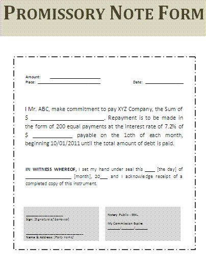 Promissory Note Form Free Word Templates Promise To Pay Note Template