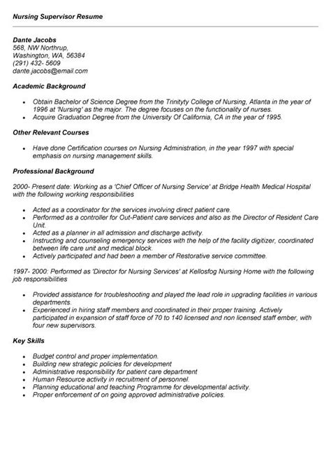Nursing Resume Exle manager resume printable resumes