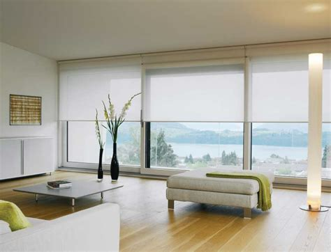 Window Treatments For Large Windows With A View Ideas White Silent Gliss Roller Blinds In An Ultra Modern Living Room Interiordesign Blinds