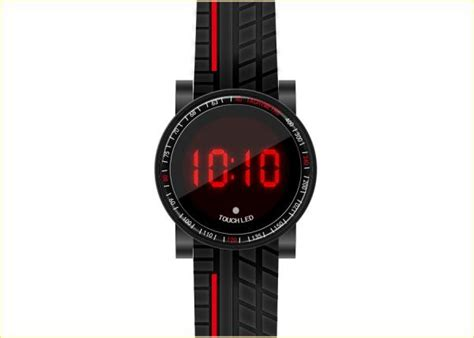 Led Watches Aa W001 Limited silicone led touch screen black mens quartz pu band with certificate of led touch