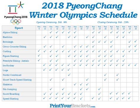 Calendar Tv Printable Winter Olympic Schedule 2018 Pyeongchang