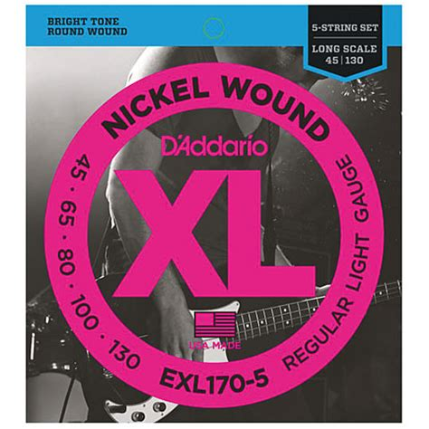 d addario exl170 5 nickel wound 045 130 171 electric bass strings