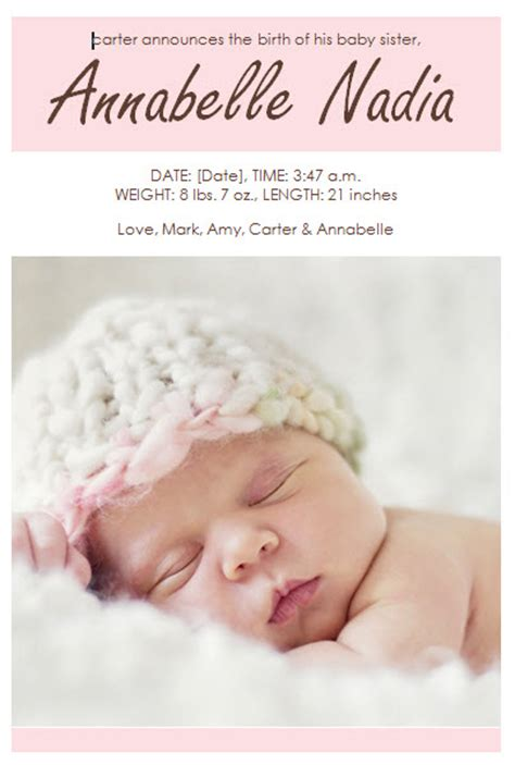 baby girl birth announcement template 187 template haven
