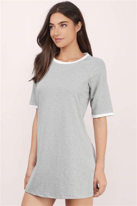 21811 Blouse Graywhite grey white shift dress grey dress color block dress 10 00