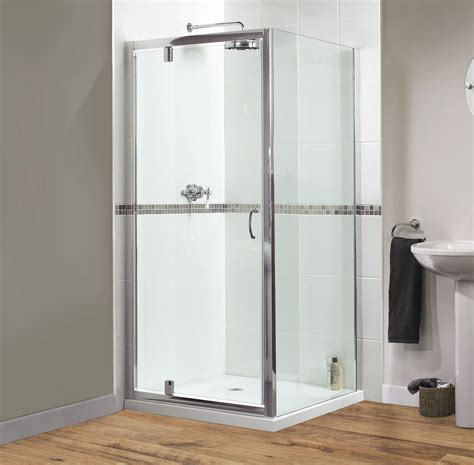 760mm Shower Door Aqualux Shine Pivot Shower Door 760mm Polished Silver Fen0895aqu
