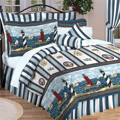 queen bedding collection comforter set nautical lighthouse