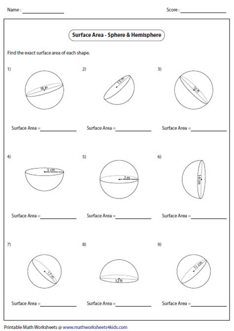 Surface Area Of A Sphere Worksheet surface area worksheets