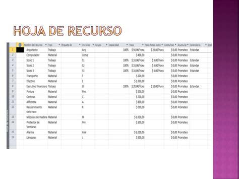 tabla de tasas de costo cos project project recursos y costos