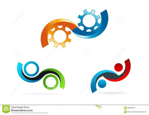 circle of infinate infinity logo circle gear symbol service consulting