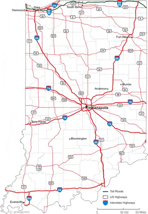 indiana road map indiana city map indiana map