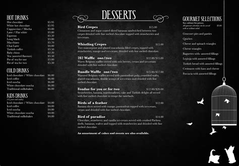 white cafe menu do s and don t s saat s dinner
