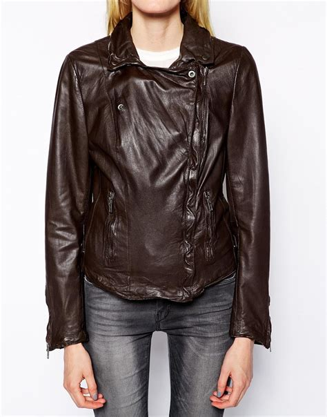 muubaa leather jackets muubaa monteria leather biker jacket in brown lyst