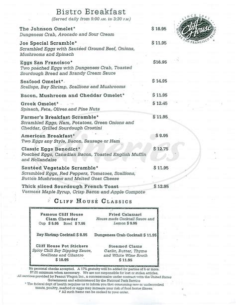 cliff house menu sutro s at the cliff house menu san francisco dineries