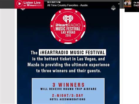 Mazda Sweepstakes - mazda quot iheartradio music festival flyaway quot sweepstakes