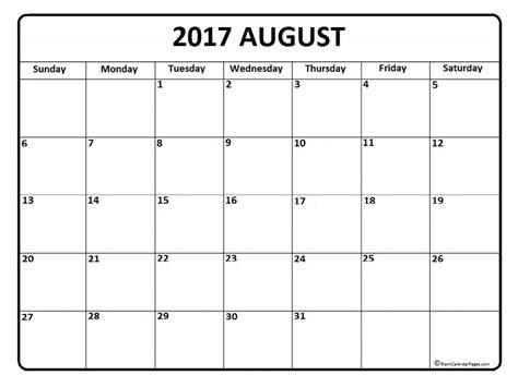Calendar Of August 2017 August Calendar 2017 Printable And Free Blank Calendar