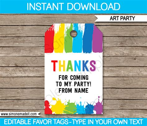 thank you for coming to my template favor tags thank you tags paint