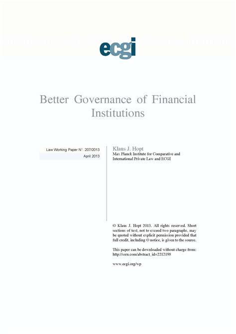 better governance better governance of financial institutions ecgi