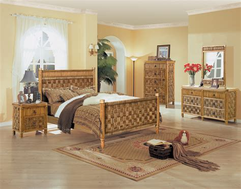 b635 tahiti 4 pc natural wicker and rattan bedroom set by