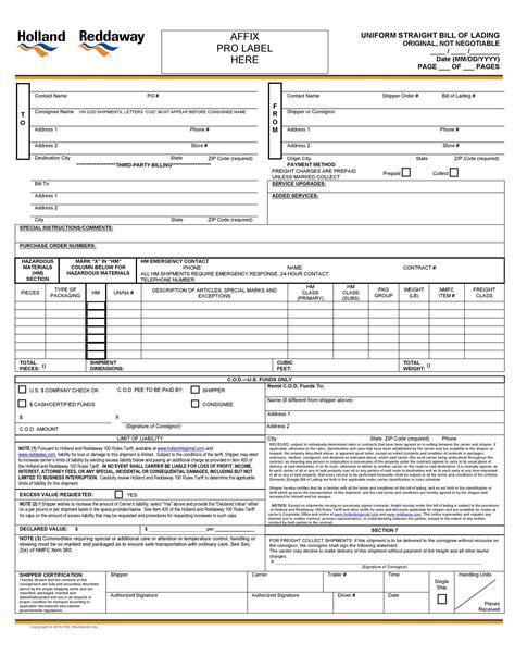 bill  lading forms templates templatelab