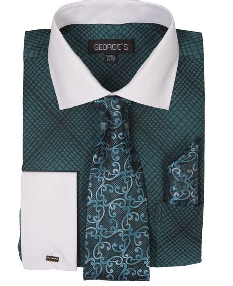 Matching Embroidered Shirt collar embroidered dress shirt with matching tie
