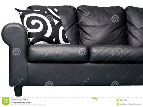 pillows for black leather couch black couch stock image image 33648681