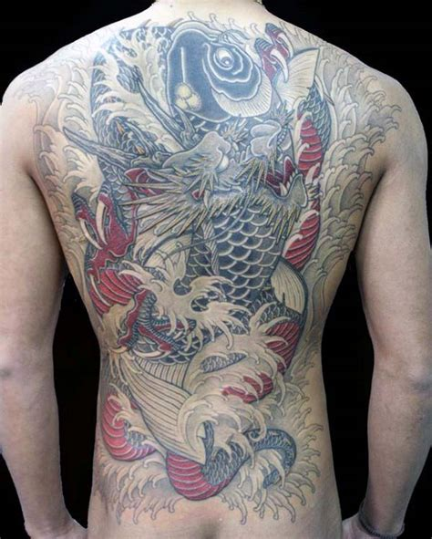 japanese back tattoo koi 90 japanese dragon tattoo designs for men manly ink ideas