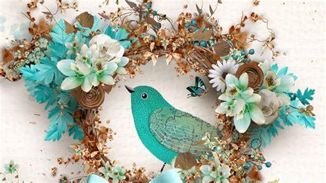 Wedges N Bunga Flower Floral 1 bird flowers cyan hd desktop wallpaper widescreen high