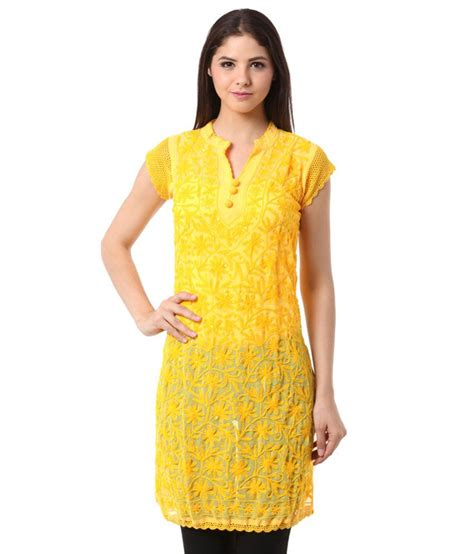 yellow kurti pattern grace designs yellow faux georgette kurti buy grace