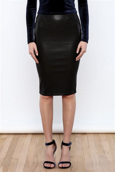 olivaceous vegan leather pencil skirt from miami by