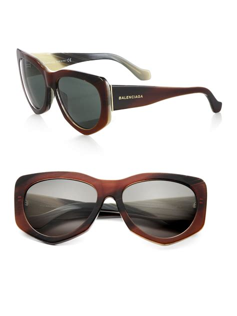 lyst balenciaga geometric retro sunglasses in brown