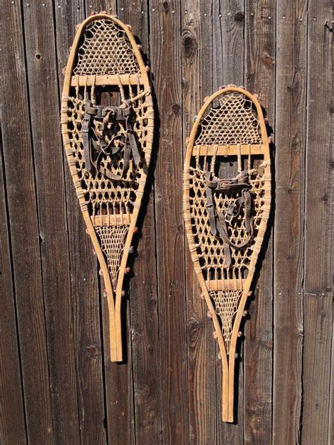 Antique American Indian Children Snowshoes Antique American Indian Snowshoes Multi Colored Pom Poms Vintagewinter