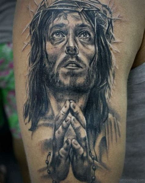 black jesus tattoo 72 stylish jesus tattoos for shoulder