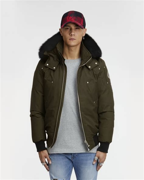 Jaket Bomber Fox moose knuckles mens ballastic bomber olive green fox fur