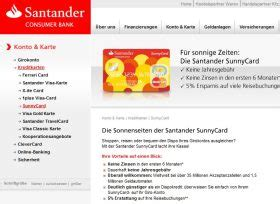 santander bank kreditkarte kostenloser rahmenkredit bzw kleinkredit