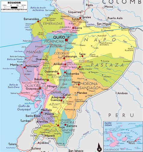 large map of large political and administrative map of ecuador with