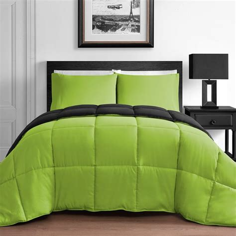 Green And Black Bedding Sets 3 King Home Reversible Microfiber Comforter Set In Lime Green Black Ease