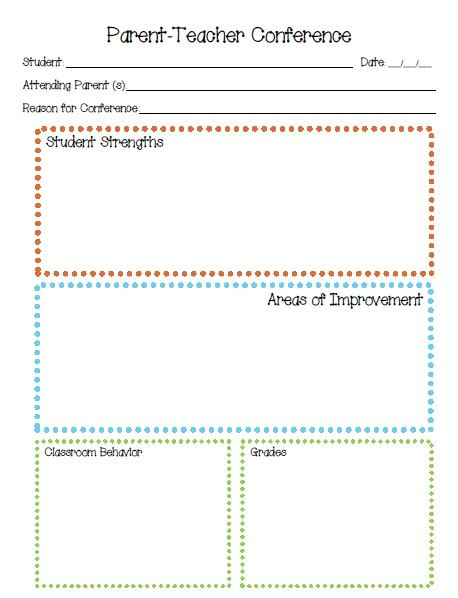 Printable Parent Conference Forms