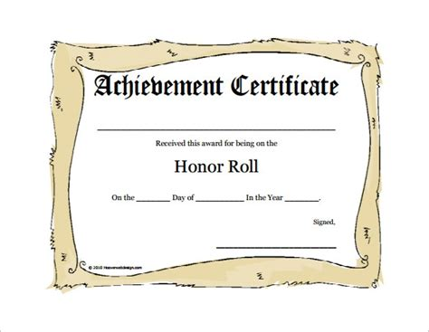 of honor card template honor roll certificate templates invitation template